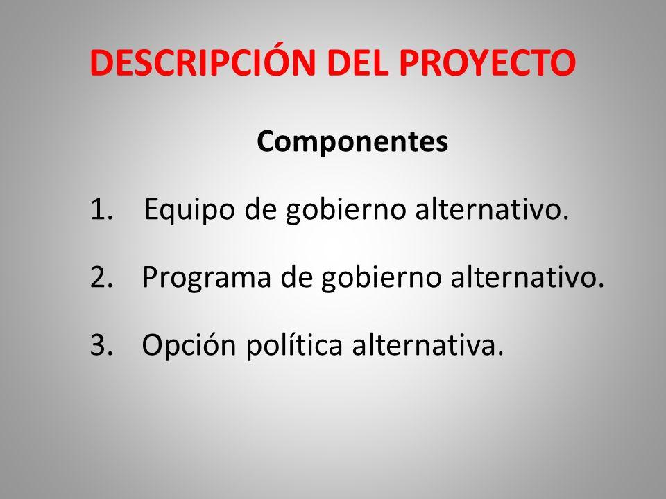 DESCRIPCIÓN DEL PROYECTO Componentes 1.Equipo de gobierno alternativo. 2.Programa de gobierno alternativo. 3.Opción política alternativa.