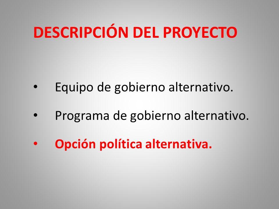 DESCRIPCIÓN DEL PROYECTO Equipo de gobierno alternativo. Programa de gobierno alternativo. Opción política alternativa.