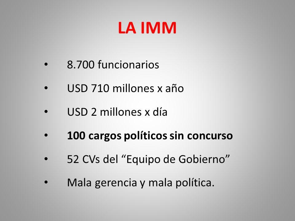 LA IMM 8.700 funcionarios USD 710 millones x año USD 2 millones x día 100 cargos políticos sin concurso 52 CVs del Equipo de Gobierno Mala gerencia y