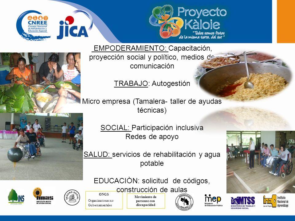 Comunidades en las que se inicia la estrategia Térraba de Buenos Aires Coto Brus, Puntarenas Puerto Jiménez de Golfito.