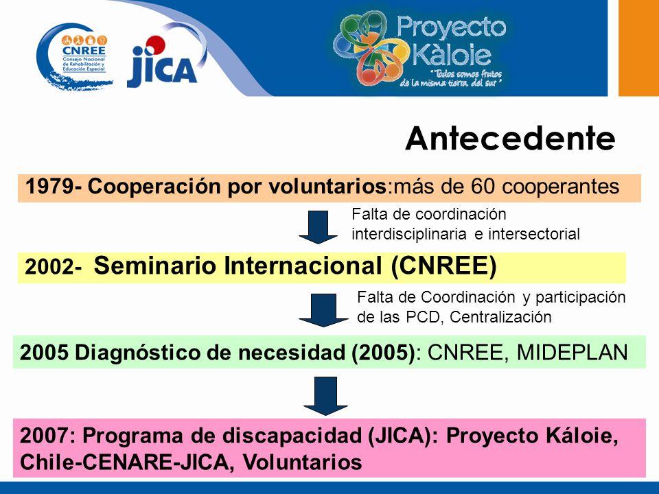 Antecedente 1979- Cooperación por voluntarios:más de 60 cooperantes 2002- Seminario Internacional (CNREE) 2005 Diagnóstico de necesidad (2005): CNREE, MIDEPLAN 2007: Programa de discapacidad (JICA): Proyecto Káloie, Chile-CENARE-JICA, Voluntarios Falta de coordinación interdisciplinaria e intersectorial Falta de Coordinación y participación de las PCD, Centralización