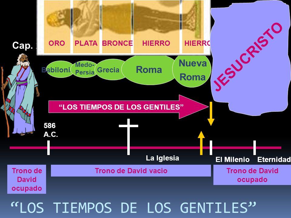 LOS TIEMPOS DE LOS GENTILES La Iglesia El MilenioEternidad 586 A.C. Trono de David ocupado Trono de David vacioTrono de David ocupado Babilonia Medo-