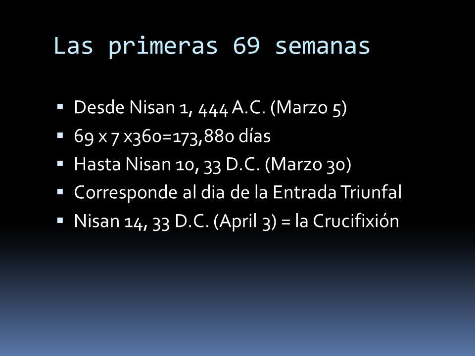 Las primeras 69 semanas Desde Nisan 1, 444 A.C. (Marzo 5) 69 x 7 x360=173,880 días Hasta Nisan 10, 33 D.C. (Marzo 30) Corresponde al dia de la Entrada