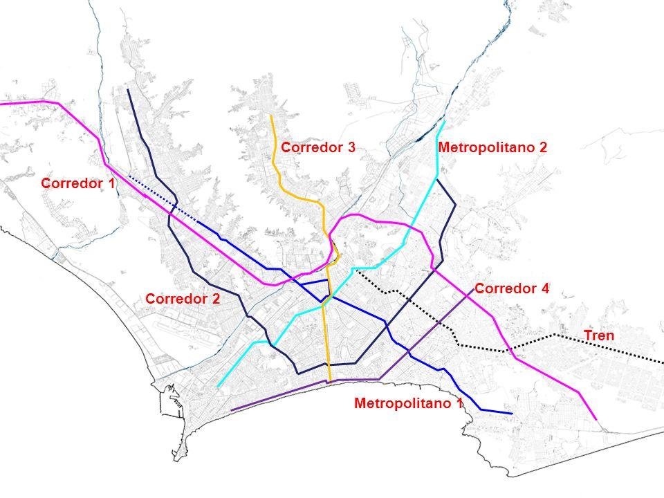 Metropolitano 1 Metropolitano 2 Tren Corredor 1 Corredor 2 Corredor 3 Corredor 4