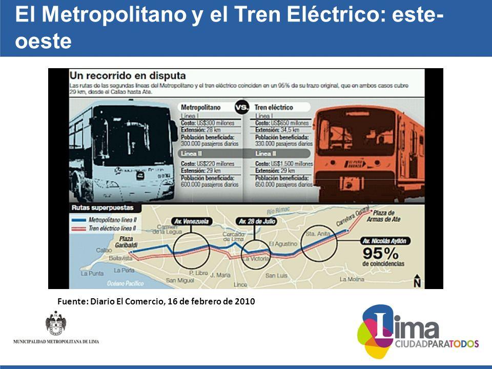 El Metropolitano y el Tren Eléctrico: este- oeste Fuente: Diario El Comercio, 16 de febrero de 2010