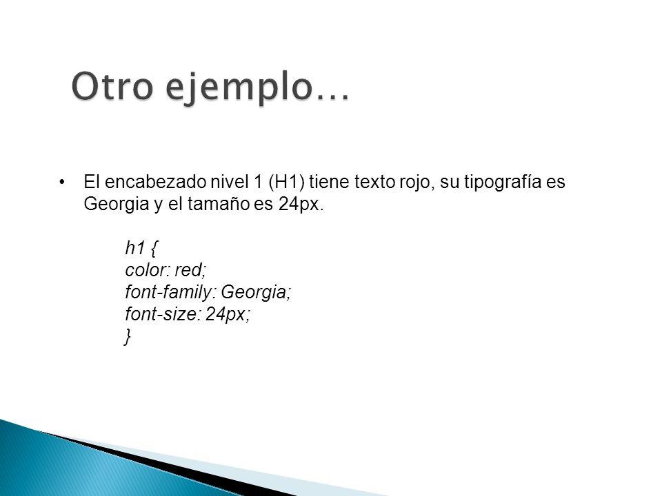 El encabezado nivel 1 (H1) tiene texto rojo, su tipografía es Georgia y el tamaño es 24px.