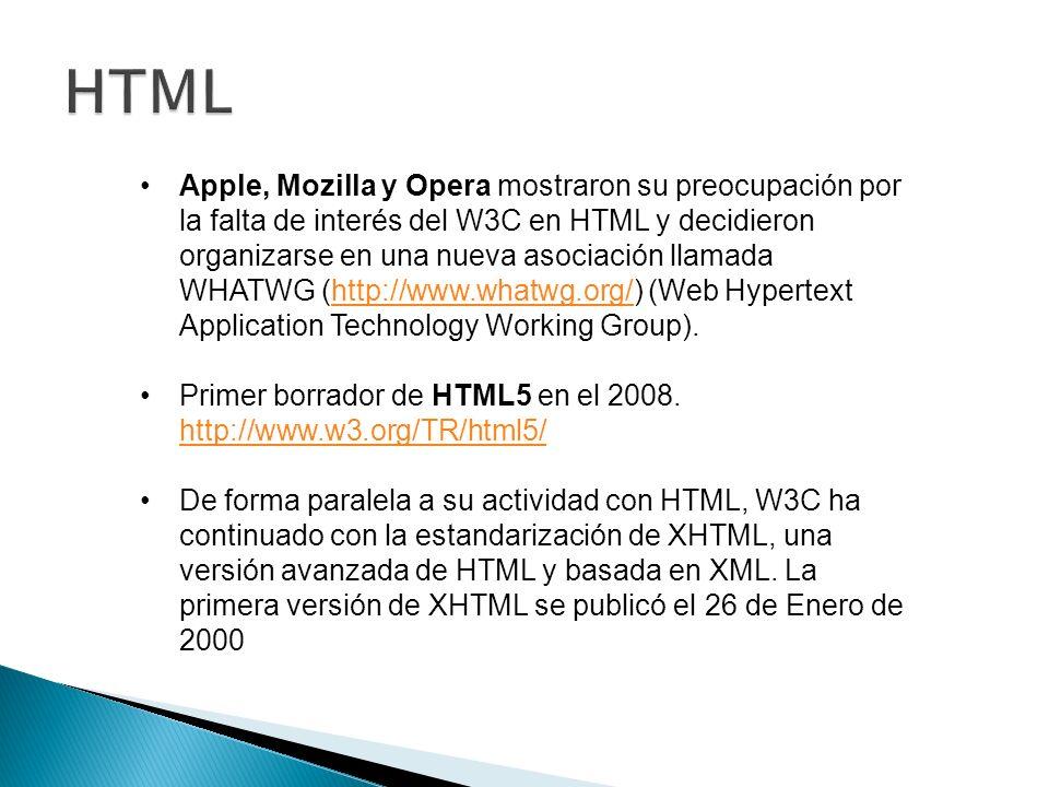 Apple, Mozilla y Opera mostraron su preocupación por la falta de interés del W3C en HTML y decidieron organizarse en una nueva asociación llamada WHATWG (http://www.whatwg.org/) (Web Hypertext Application Technology Working Group).http://www.whatwg.org/ Primer borrador de HTML5 en el 2008.