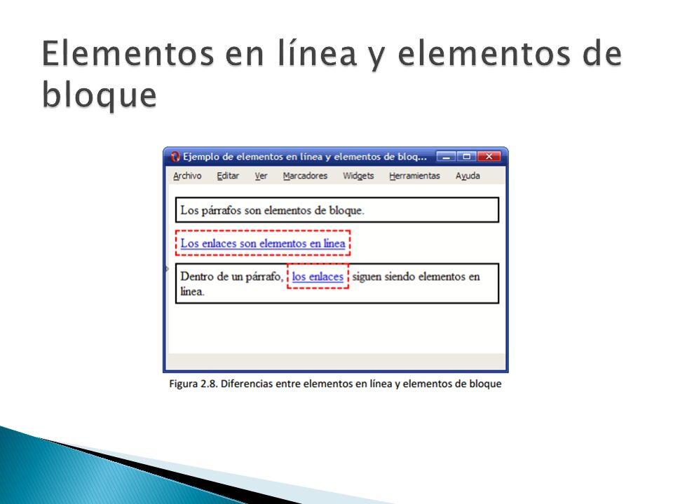 Los estilos se definen en una zona específica del propio documento HTML.