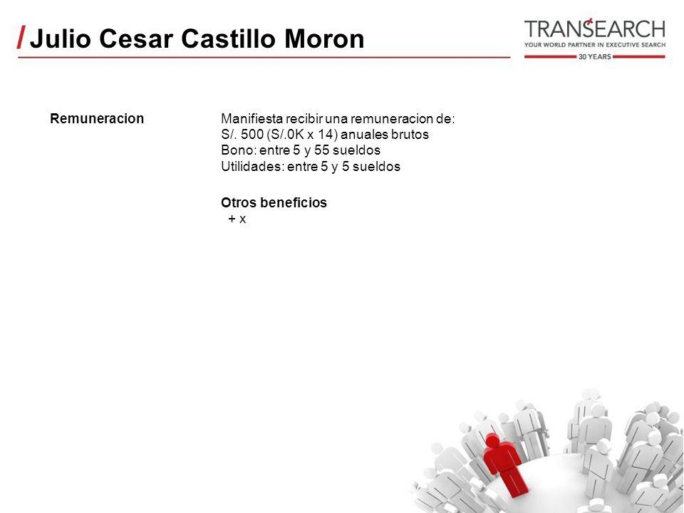Julio Cesar Castillo Moron RemuneracionManifiesta recibir una remuneracion de: S/.