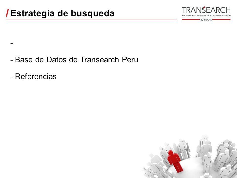 Estrategia de busqueda - - Base de Datos de Transearch Peru - Referencias