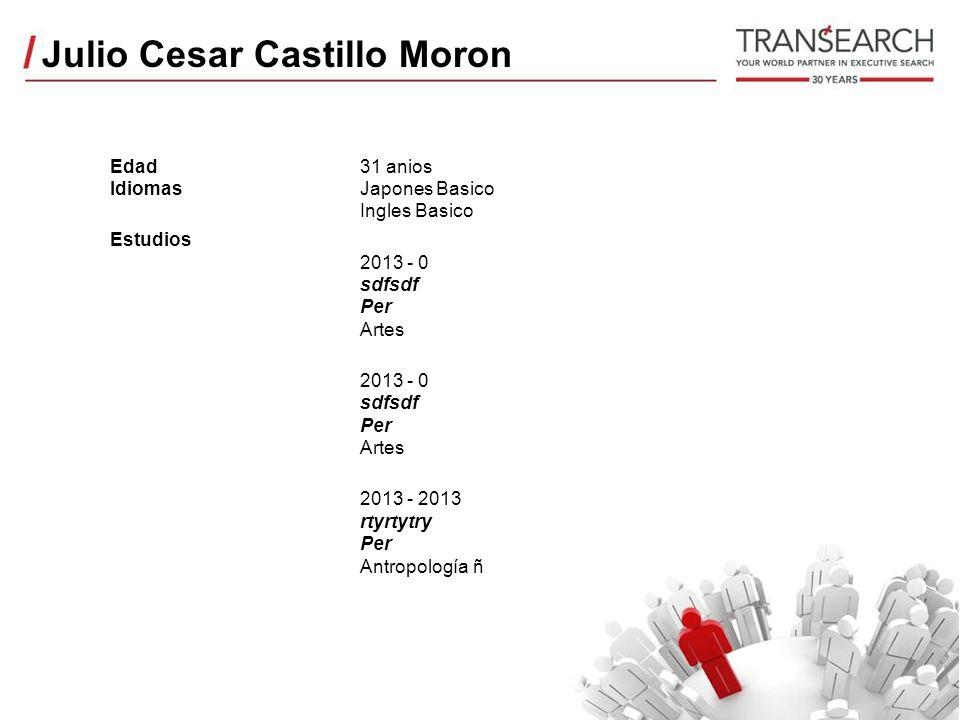 Julio Cesar Castillo Moron Edad Idiomas Estudios 31 anios Japones Basico Ingles Basico 2013 - 0 sdfsdf Per Artes 2013 - 0 sdfsdf Per Artes 2013 - 2013 rtyrtytry Per Antropología ñ