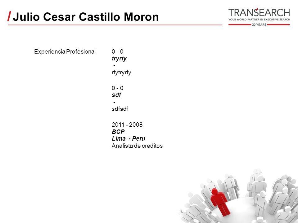 Julio Cesar Castillo Moron Experiencia Profesional0 - 0 tryrty - rtytryrty 0 - 0 sdf - sdfsdf 2011 - 2008 BCP Lima - Peru Analista de creditos