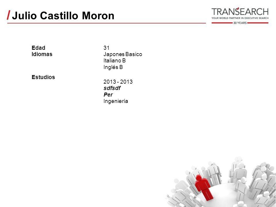 Julio Castillo Moron Edad Idiomas Estudios 31 Japones Basico Italiano B Inglés B 2013 - 2013 sdfsdf Per Ingeniería