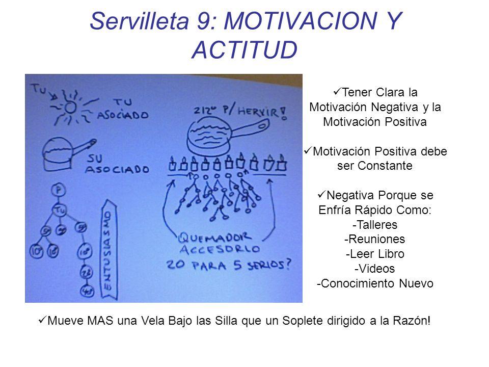 Servilleta 9: MOTIVACION Y ACTITUD Tener Clara la Motivación Negativa y la Motivación Positiva Motivación Positiva debe ser Constante Negativa Porque