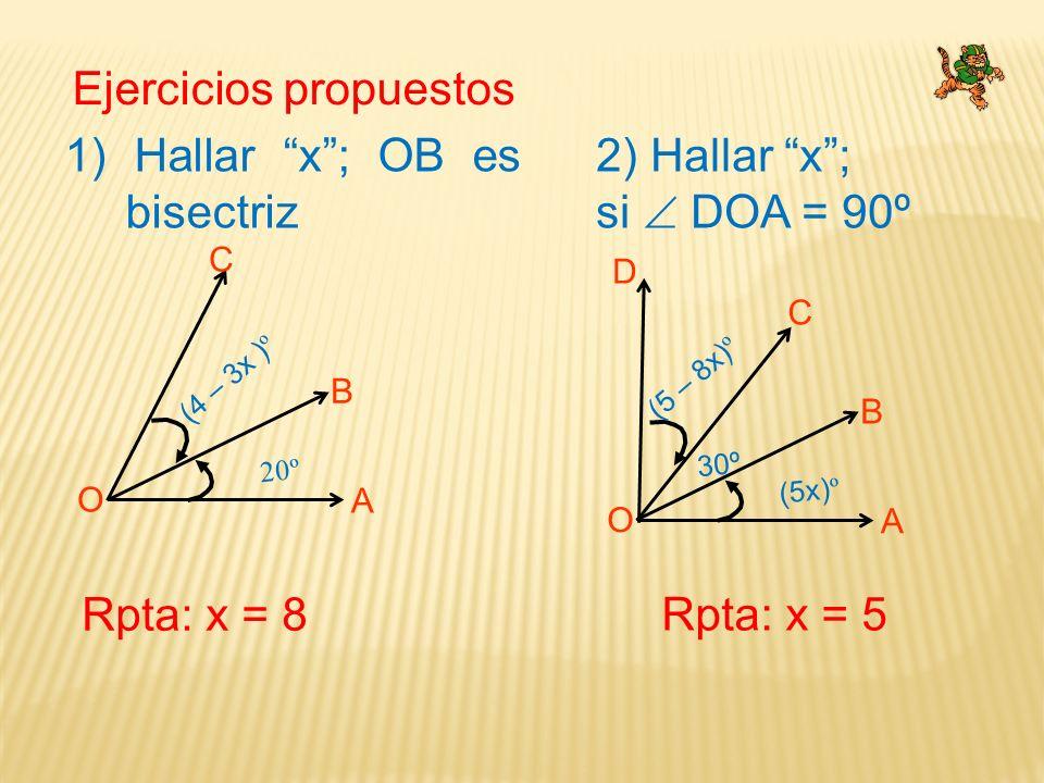 Ejercicios propuestos C O A B (4 – 3x ) º 20º 1) Hallar x; OB es bisectriz Rpta: x = 8 2) Hallar x; si DOA = 90º C O A B (5 – 8x) º (5x) º 30º D Rpta: