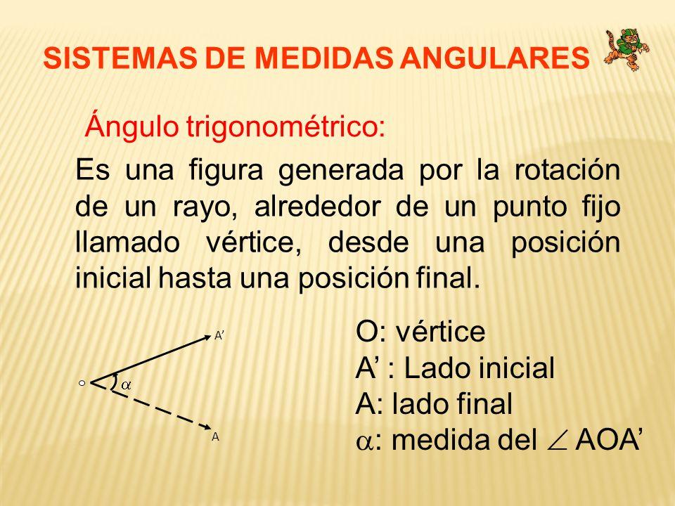 SISTEMAS DE MEDIDAS ANGULARES Ángulo trigonométrico: Es una figura generada por la rotación de un rayo, alrededor de un punto fijo llamado vértice, de