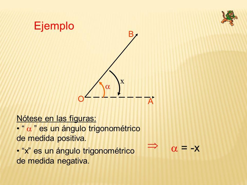 Ejemplo B A O x Nótese en las figuras: es un ángulo trigonométrico de medida positiva. x es un ángulo trigonométrico de medida negativa. = -x