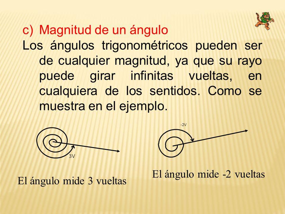 c)Magnitud de un ángulo Los ángulos trigonométricos pueden ser de cualquier magnitud, ya que su rayo puede girar infinitas vueltas, en cualquiera de l