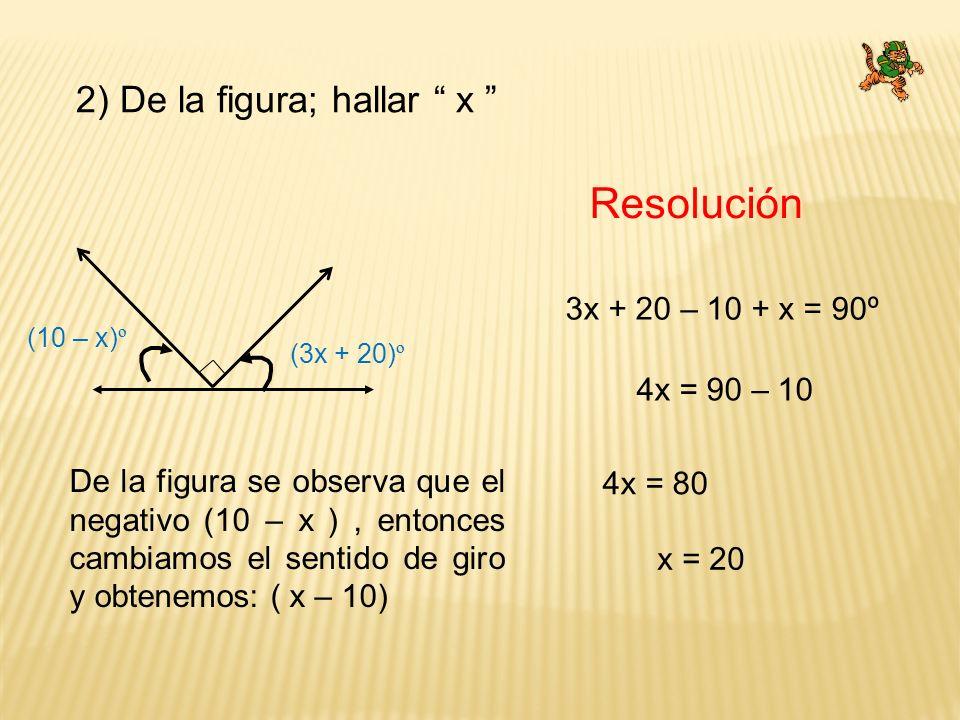 2) De la figura; hallar x Resolución 3x + 20 – 10 + x = 90º 4x = 90 – 10 x = 20 (3x + 20) º (10 – x) º 4x = 80 De la figura se observa que el negativo