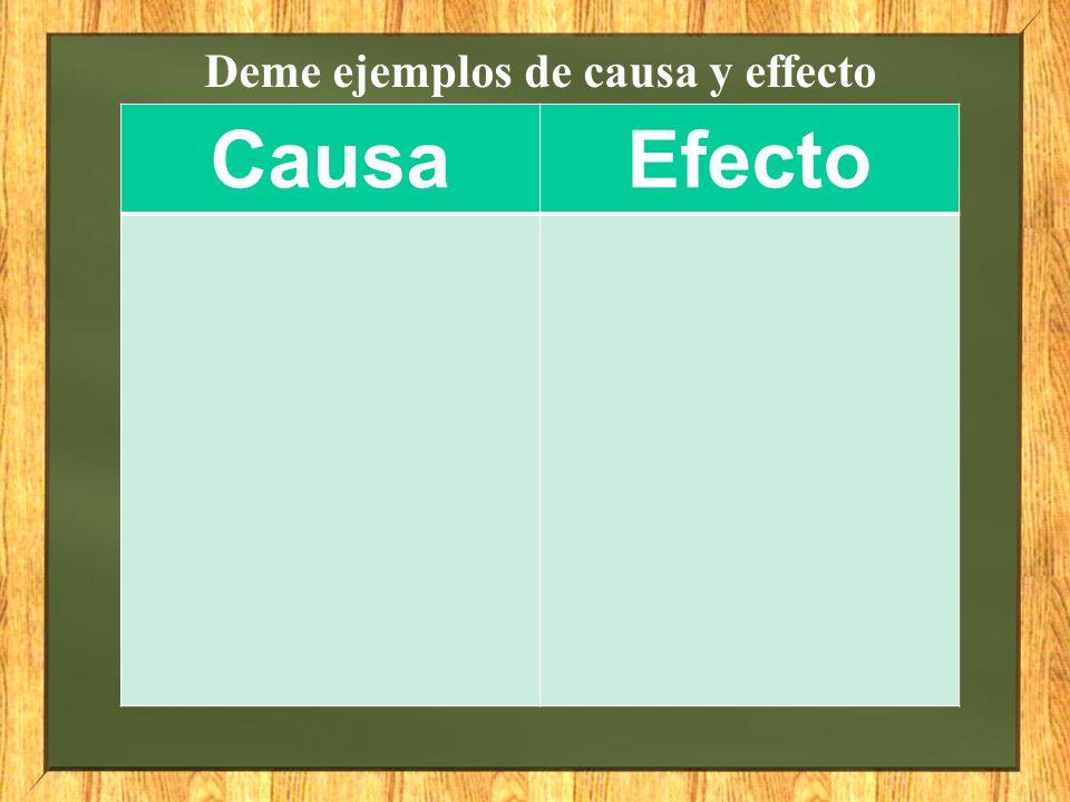 Deme ejemplos de causa y effecto CausaEfecto