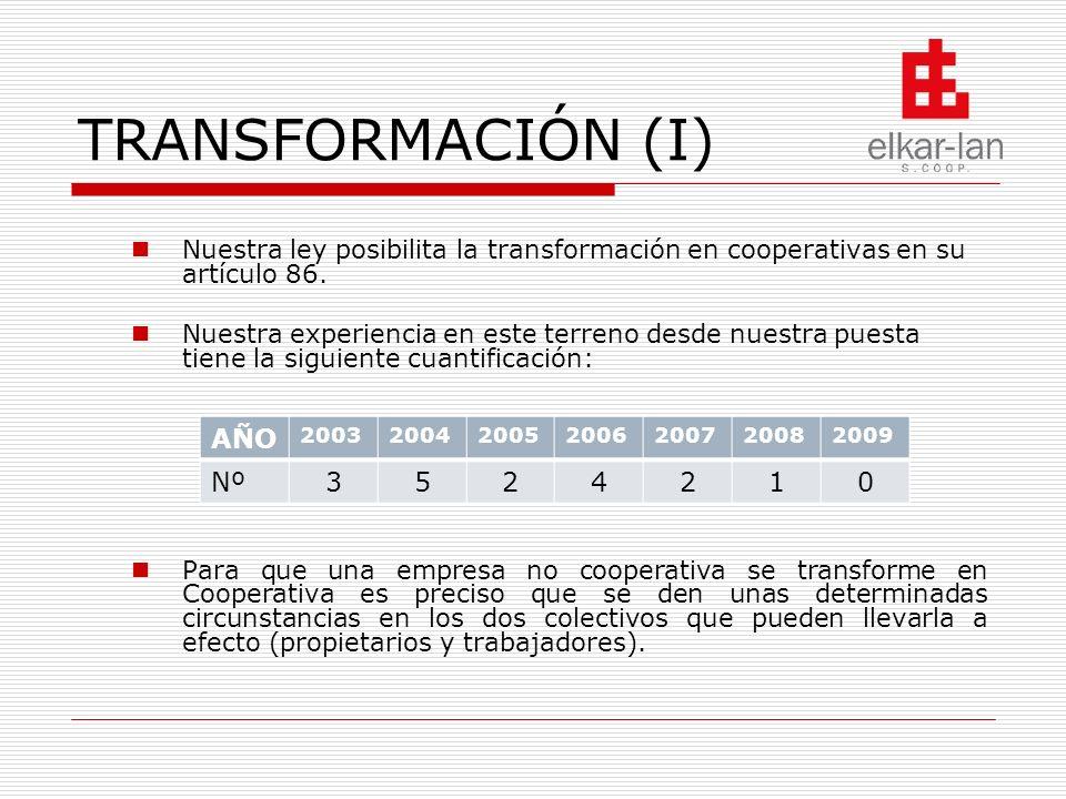TRANSFORMACIÓN (II) La transformación en una cooperativa requiere que coexista un acuerdo entre la propiedad y los trabajadores en múltiples campos, pero sobre todo precisa que la actividad empresarial sea viable con los socios trabajadores que se vayan a embarcar en esta nueva empresa.