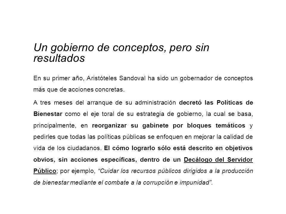 Un gobierno de conceptos, pero sin resultados En su primer año, Aristóteles Sandoval ha sido un gobernador de conceptos más que de acciones concretas.