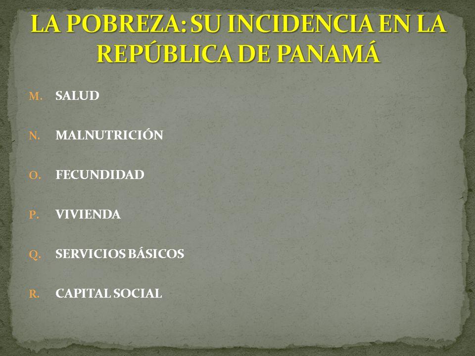 M. SALUD N. MALNUTRICIÓN O. FECUNDIDAD P. VIVIENDA Q. SERVICIOS BÁSICOS R. CAPITAL SOCIAL