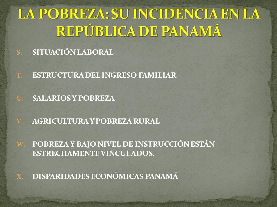 S.SITUACIÓN LABORAL T. ESTRUCTURA DEL INGRESO FAMILIAR U.
