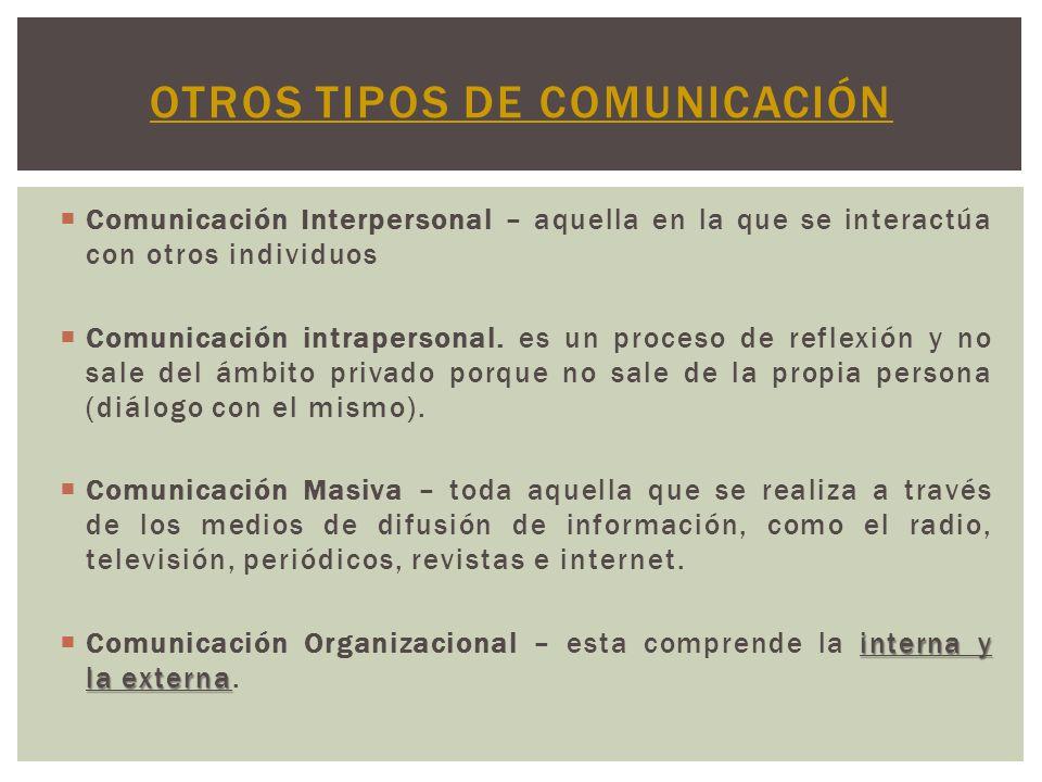 Comunicación Interpersonal – aquella en la que se interactúa con otros individuos Comunicación intrapersonal. es un proceso de reflexión y no sale del