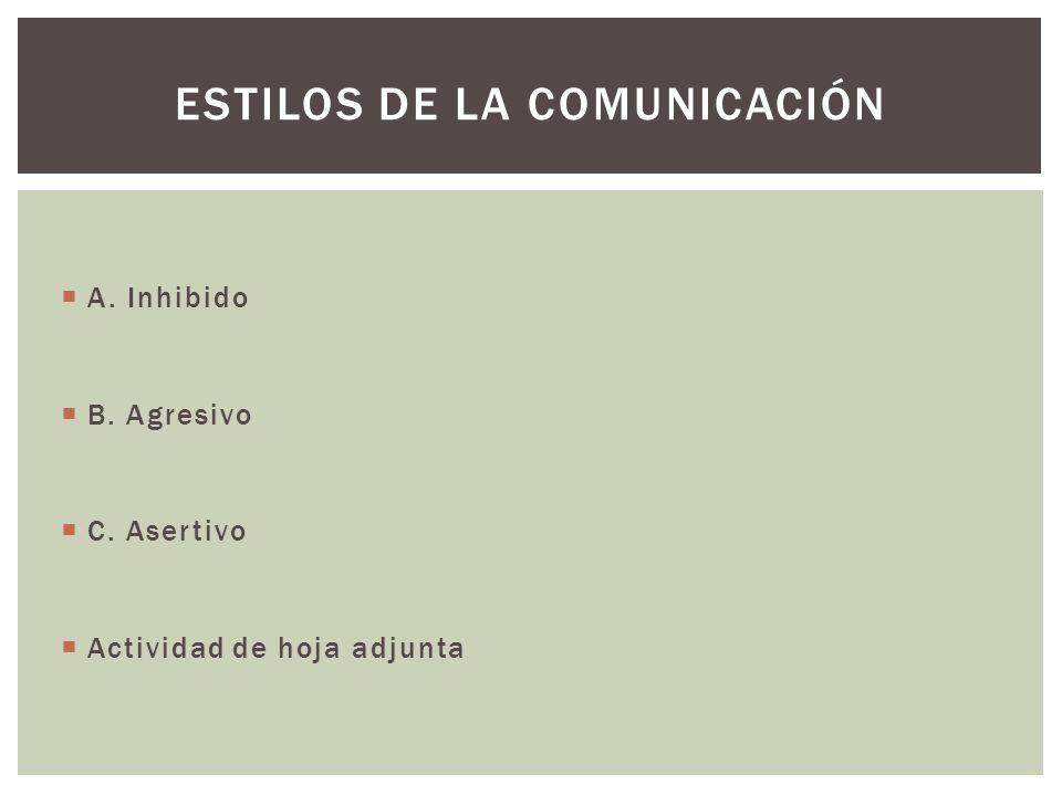 A. Inhibido B. Agresivo C. Asertivo Actividad de hoja adjunta ESTILOS DE LA COMUNICACIÓN