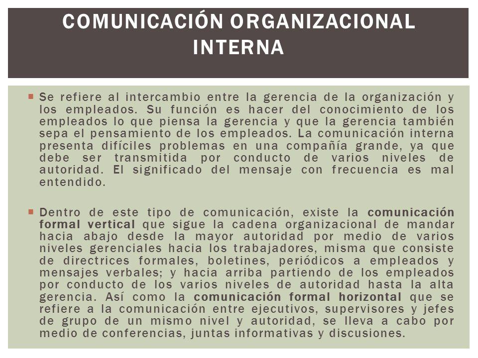 Se refiere al intercambio entre la gerencia de la organización y los empleados. Su función es hacer del conocimiento de los empleados lo que piensa la