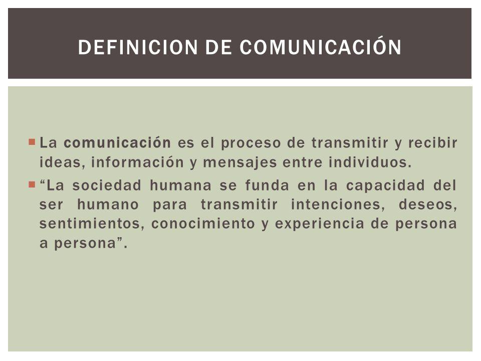 La comunicación es el proceso de transmitir y recibir ideas, información y mensajes entre individuos. La sociedad humana se funda en la capacidad del