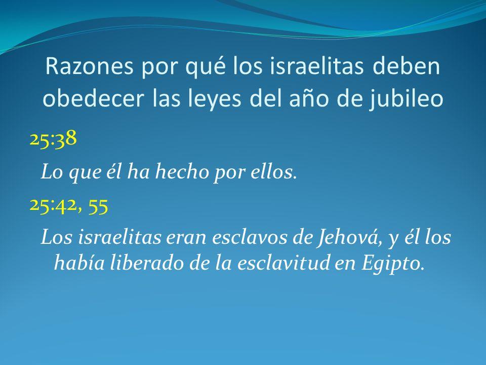 Razones por qué los israelitas deben obedecer las leyes del año de jubileo 25:38 Lo que él ha hecho por ellos.
