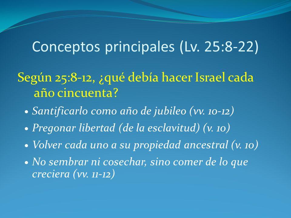 Conceptos principales (Lv.25:8-22) Según 25:8-12, ¿qué debía hacer Israel cada año cincuenta.