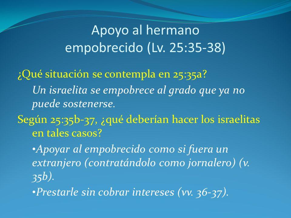 Apoyo al hermano empobrecido (Lv.25:35-38) ¿Qué situación se contempla en 25:35a.