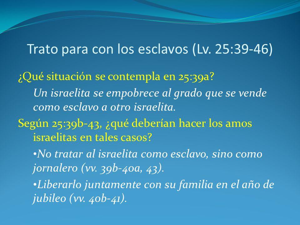 Trato para con los esclavos (Lv.25:39-46) ¿Qué situación se contempla en 25:39a.