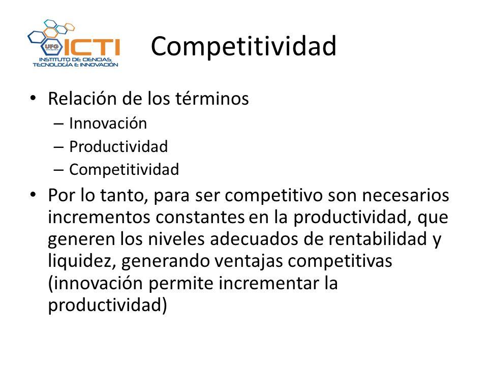 Competitividad Relación de los términos – Innovación – Productividad – Competitividad Por lo tanto, para ser competitivo son necesarios incrementos constantes en la productividad, que generen los niveles adecuados de rentabilidad y liquidez, generando ventajas competitivas (innovación permite incrementar la productividad)