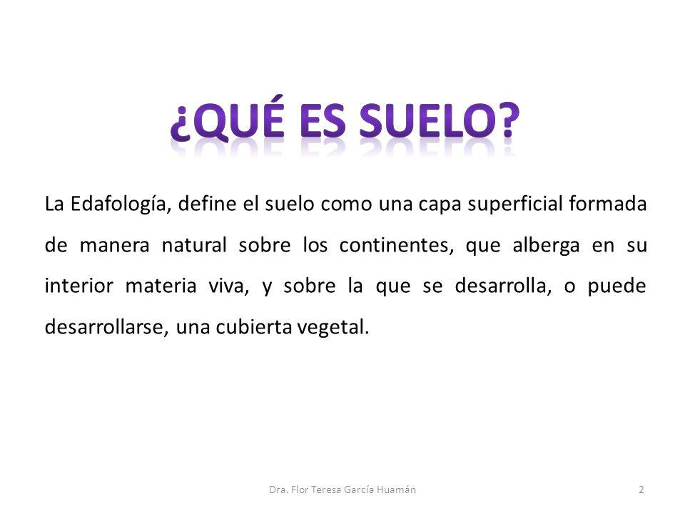 La Edafología, define el suelo como una capa superficial formada de manera natural sobre los continentes, que alberga en su interior materia viva, y s