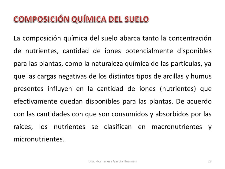 La composición química del suelo abarca tanto la concentración de nutrientes, cantidad de iones potencialmente disponibles para las plantas, como la n