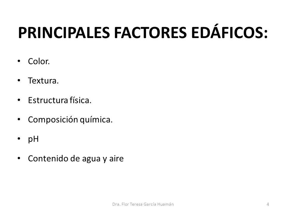 PRINCIPALES FACTORES EDÁFICOS: Color. Textura. Estructura física. Composición química. pH Contenido de agua y aire 4Dra. Flor Teresa García Huamán
