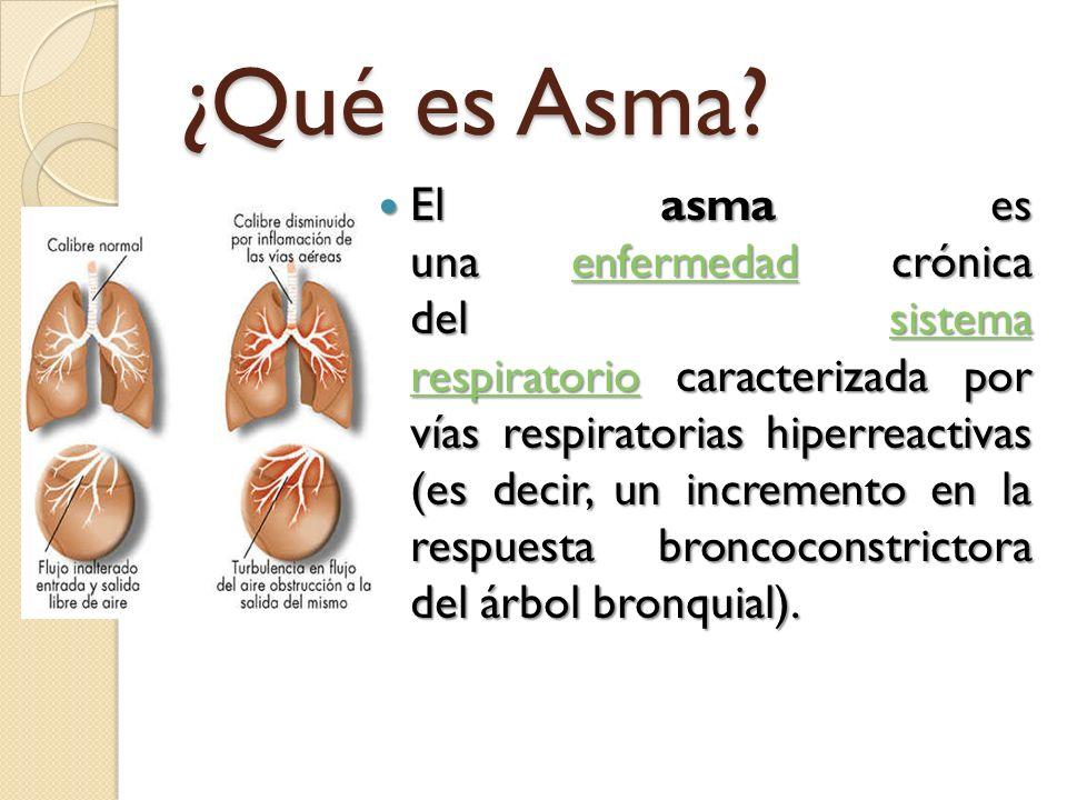 ¿Qué es Asma? El asma es una enfermedad crónica del sistema respiratorio caracterizada por vías respiratorias hiperreactivas (es decir, un incremento