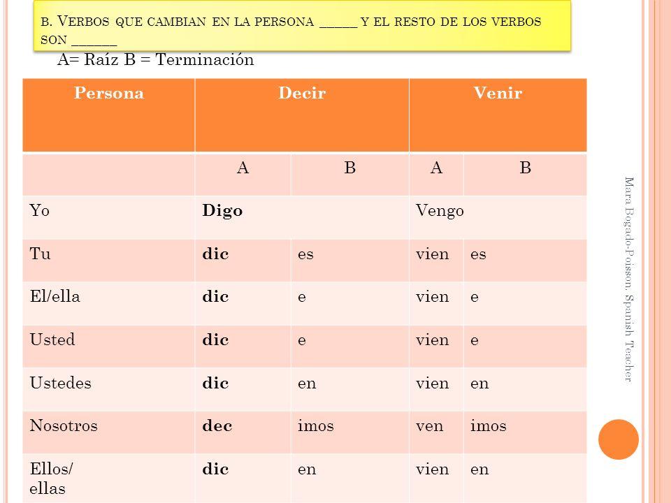B. V ERBOS QUE CAMBIAN EN LA PERSONA _____ Y EL RESTO DE LOS VERBOS SON ______ Mara Bogado-Poisson. Spanish Teacher PersonaDecirVenir ABAB Yo Digo Ven