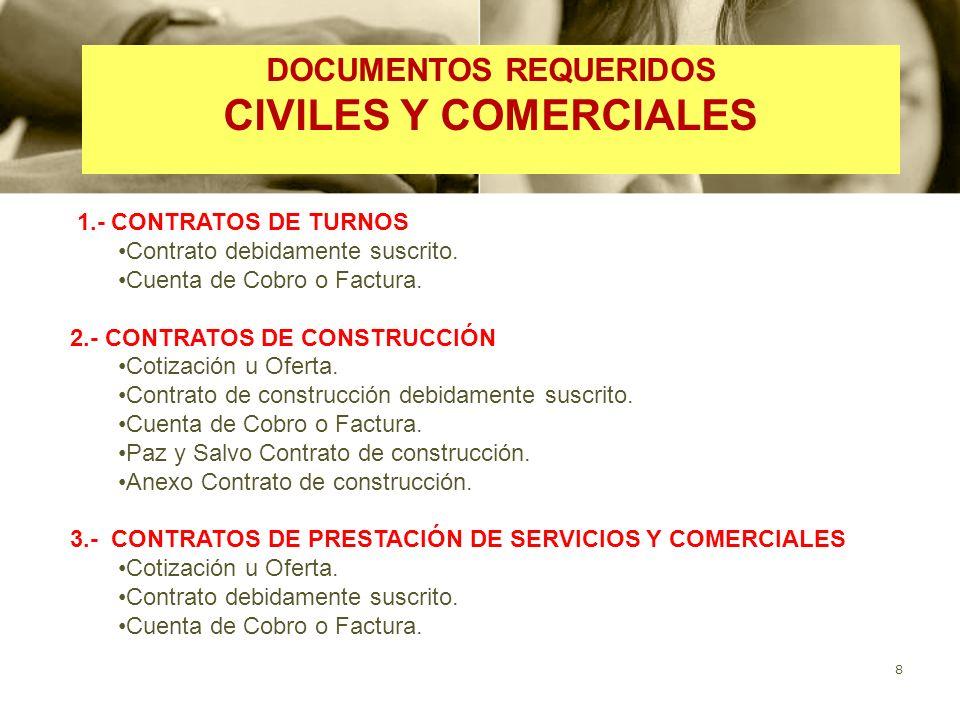 8 1.- CONTRATOS DE TURNOS Contrato debidamente suscrito.
