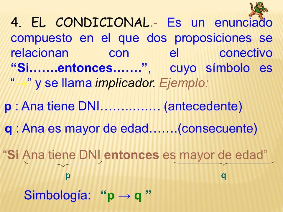 4. EL CONDICIONAL.- Es un enunciado compuesto en el que dos proposiciones se relacionan con el conectivo Si…….entonces……., cuyo símbolo es y se llama