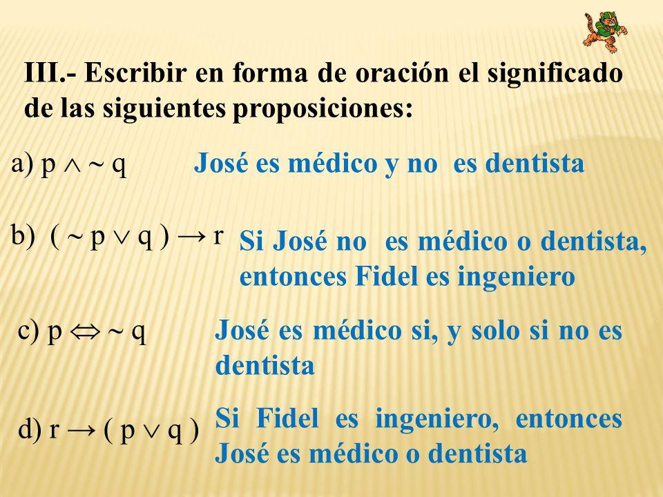 III.- Escribir en forma de oración el significado de las siguientes proposiciones: a) p q b) ( p q ) r c) p q d) r ( p q ) José es médico y no es dent