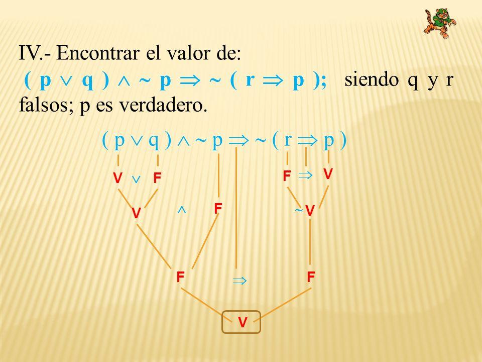 IV.- Encontrar el valor de: ( p q ) p ( r p ); siendo q y r falsos; p es verdadero. ( p q ) p ( r p ) VF F F V V F V F V