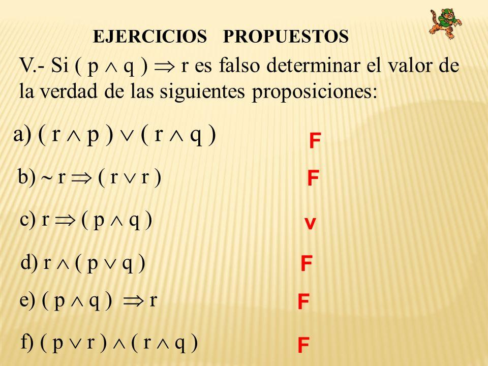 EJERCICIOS PROPUESTOS V.- Si ( p q ) r es falso determinar el valor de la verdad de las siguientes proposiciones: a) ( r p ) ( r q ) b) r ( r r ) c) r