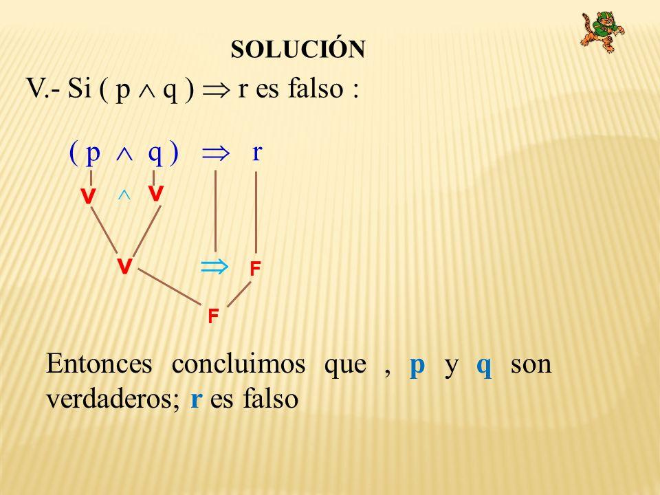 SOLUCIÓN V.- Si ( p q ) r es falso : Entonces concluimos que, p y q son verdaderos; r es falso ( p q ) r F F v v v