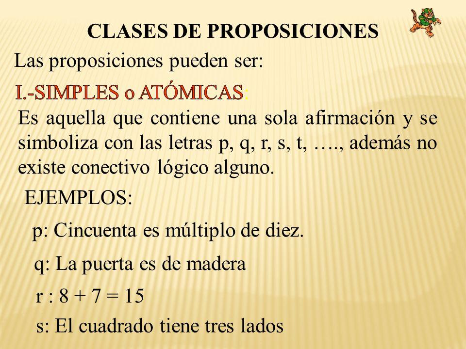CLASES DE PROPOSICIONES Las proposiciones pueden ser: EJEMPLOS: p: Cincuenta es múltiplo de diez. q: La puerta es de madera r : 8 + 7 = 15 s: El cuadr