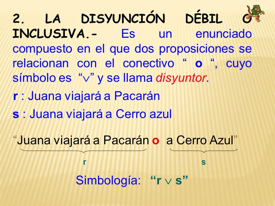 2. LA DISYUNCIÓN DÉBIL O INCLUSIVA.- Es un enunciado compuesto en el que dos proposiciones se relacionan con el conectivo o, cuyo símbolo es y se llam